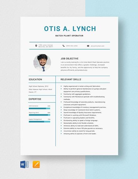 Batch Plant Operator Resume Template