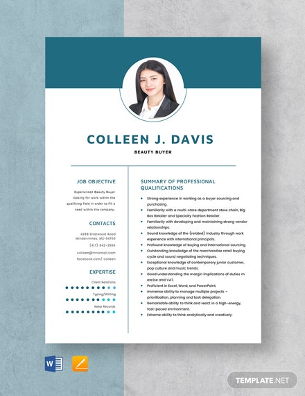 Beauty Buyer Resume Template