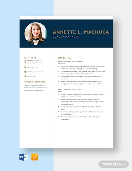 Beauty Manager Resume Template