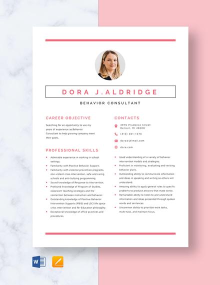 Behavior Consultant Resume Template