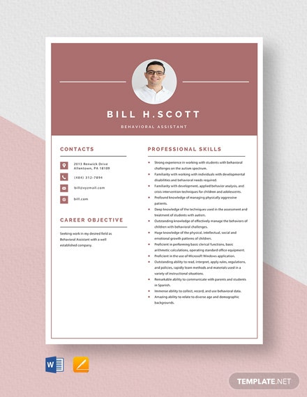 Behavioral Assistant Resume Template