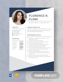 Behavioral Counselor Resume Template