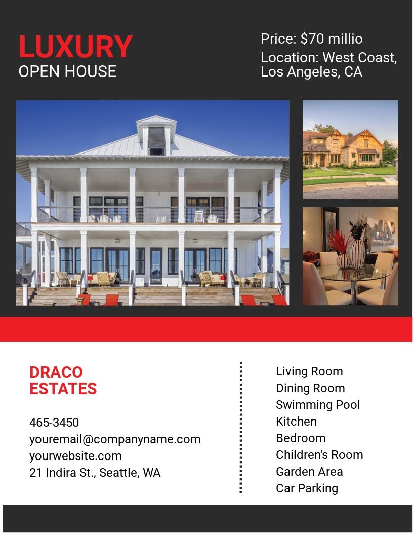 Free Luxury Open House Flyer Template
