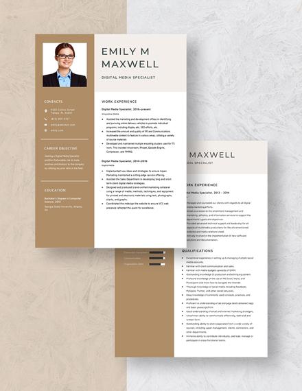 Digital Media Specialist Resume Download