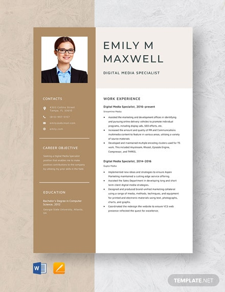 Digital Media Specialist Resume Template