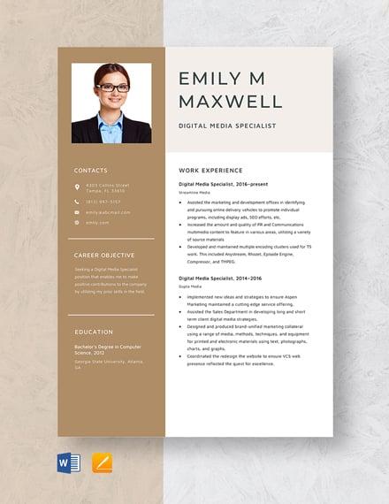 Digital Media Specialist Resume