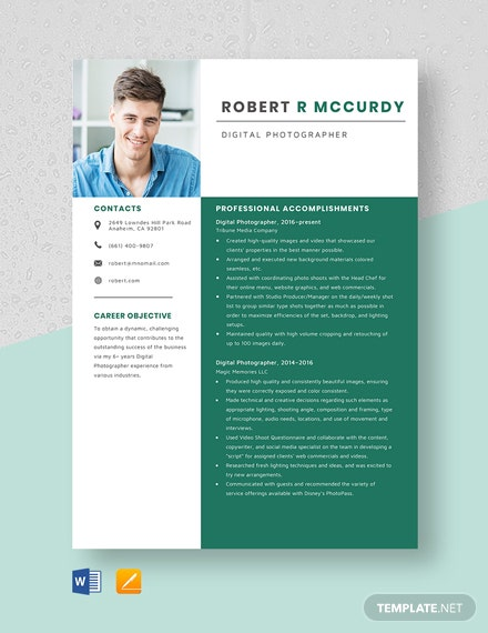 Digital Photographer Resume Template