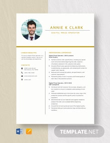 Digital Press Operator Resume Template