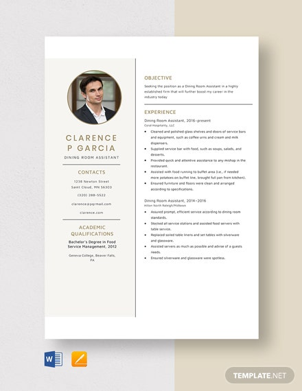 Dining Room Assistant Resume Template