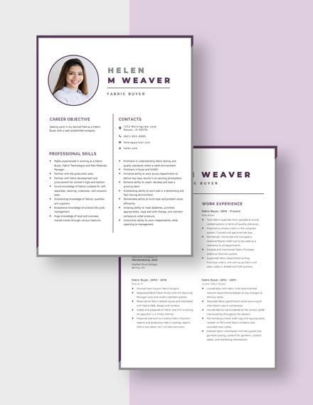 Fabric Buyer Resume Download