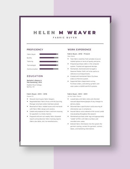 Fabric Buyer Resume Template