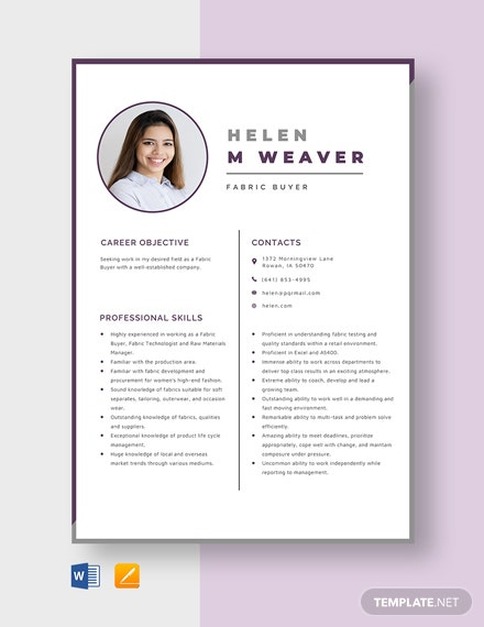 Fabric Buyer Resume Template