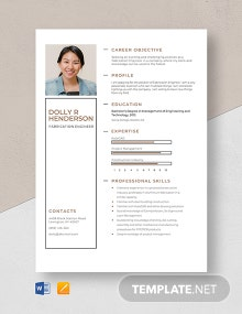 Fabrication Engineer Resume Template