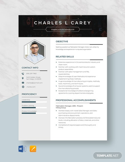 Fabrication Manager Resume Template