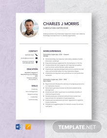 Fabrication Supervisor Resume Template