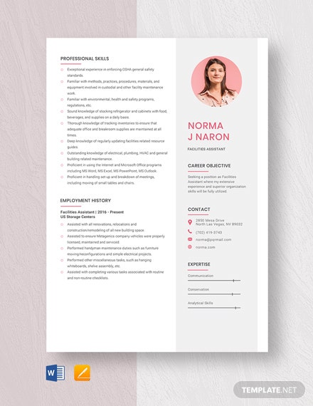 Facilities Assistant Resume Template