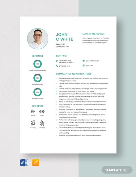 Facilities Coordinator Resume Template