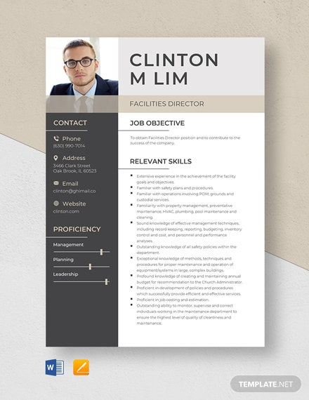 Facilities Director Resume Template