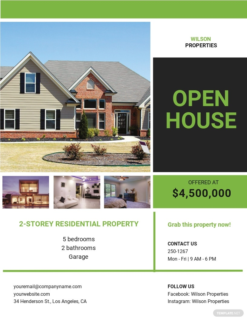 Open House Promotion Flyer Template