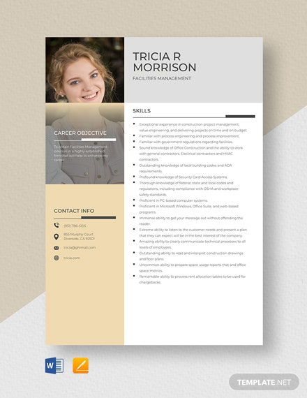 Facilities Management Resume Template