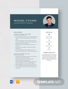 Housing Project Manager Resume Template
