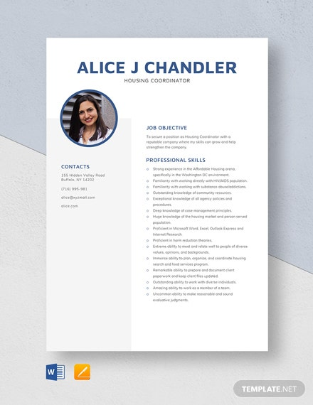 Housing Coordinator Resume Template