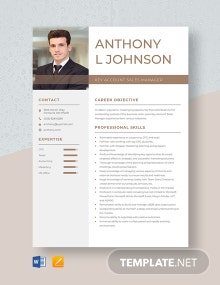 Key Account Sales Manager Resume Template