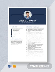 Kindergarten Teacher Resume Template