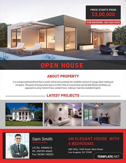 elegant open house flyer template 1x