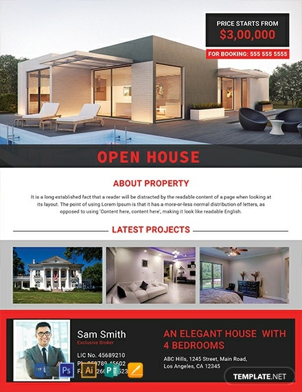 Free Elegant Open House Flyer Template