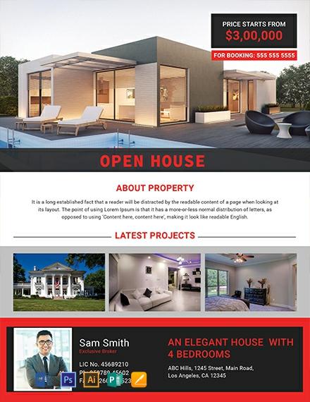 Free Elegant Open House Flyer Template
