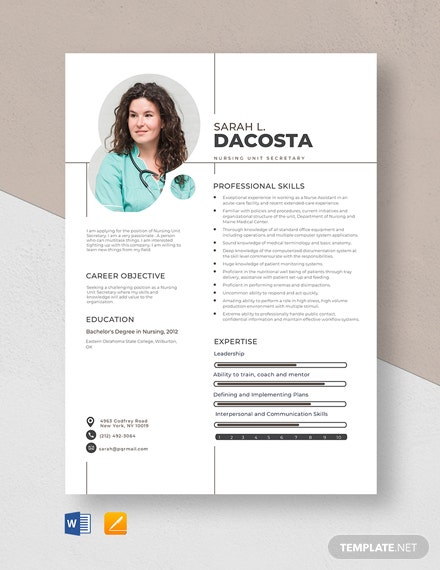 Nursing Unit Secretary Resume Template