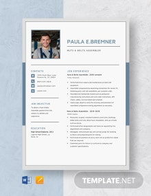 Nuts & Bolts Assembler Resume Template