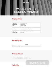 Free Weekly Safety Meeting Minutes Template