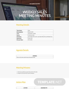 Free Weekly Sales Meeting Minutes Template