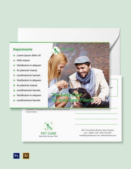 Free Pet Care Postcard Template