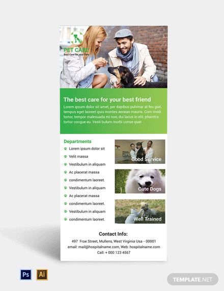 Pet Care Rack Card Template
