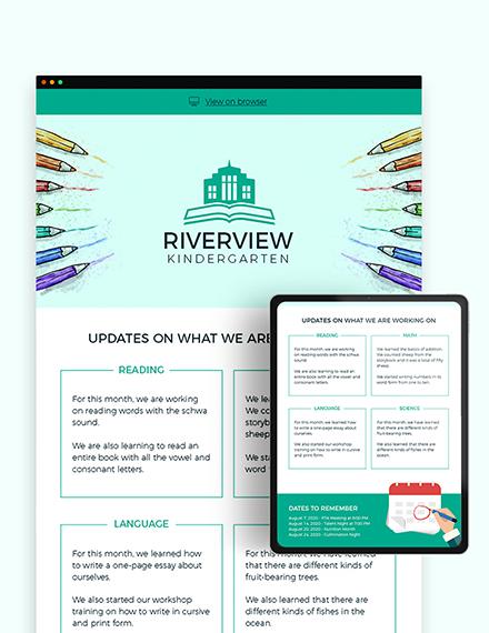 Sample Kindergarten Newsletter Template