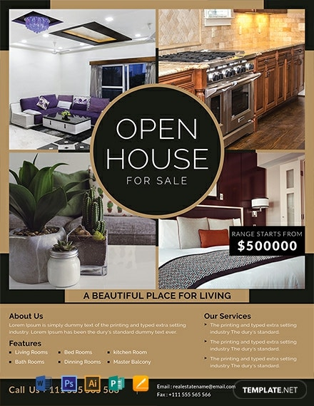 free open house sale flyer template download 1569 flyers. Black Bedroom Furniture Sets. Home Design Ideas