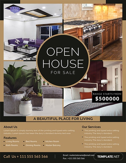 open house sale flyer template 1x