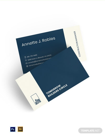 Free Modern Construction Manager Business Card Template