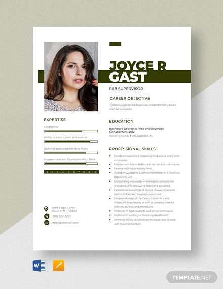 F&B Supervisor Resume Template