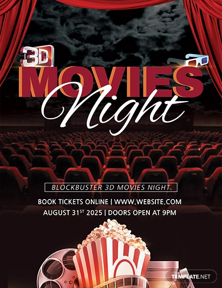 3d movies night flyer template 1x