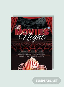 3D Movies Night Flyer Template