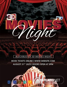 Free 3D Movies Night Flyer Template