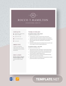 Occupational Analyst Resume Template