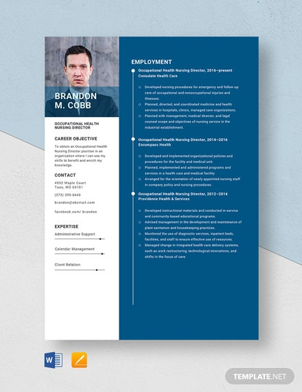 Occupational Health Nursing Director Resume Template