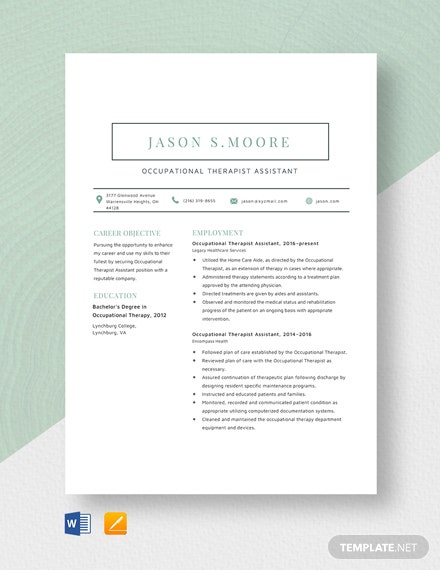 Occupational Therapist Assistant Resume Template