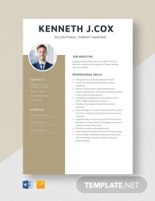 Occupational Therapy Manager Resume Template