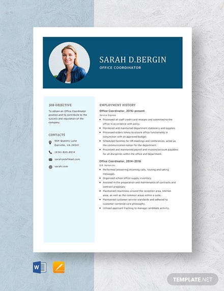 Office Coordinator Resume Template